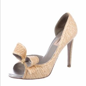 Valentino straw covered Leather Bow Pump